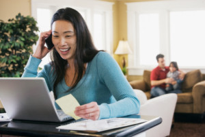 woman on phone web IVR payment