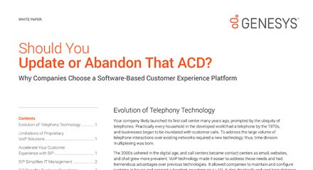 Should You Update or Abandon Your Call Centre ACD?