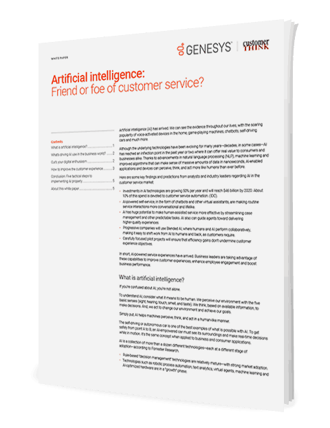 Artificial intelligence friend or foe of customer service wp 3d en