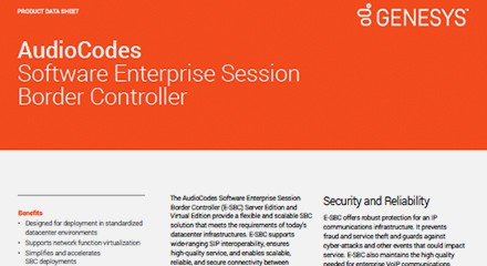 Audiocodes software enterprise session border controller