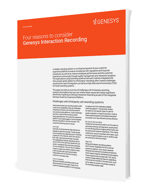 Four reasons to consider genesys interaction recording ex 3d en
