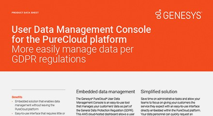 User data management console for the purecloud platform resource
