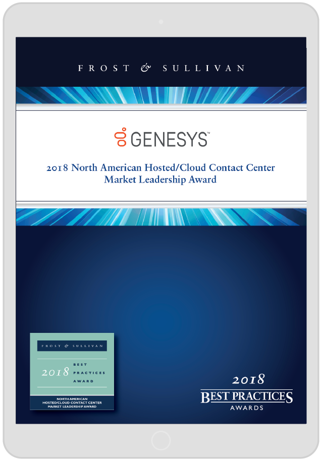Frost&sullivan na cloud contact center market leadership award   device